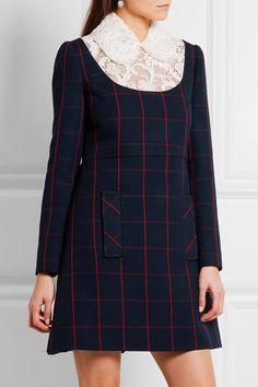 Miu Miu - Guipure lace-paneled checked wool mini dress