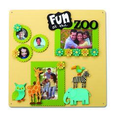Create your own Memo Board with magnetic frames and embellishments.  Change out colorful magnets and favorite photos for unique year round displays.  Fun at the Zoo from Embellish Your Story by Roeda.