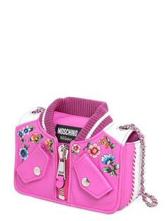 MOSCHINO - BOMBER FLORAL EMBROIDERED LEATHER BAG - SHOULDER BAGS - FUCHSIA - LUISAVIAROMA