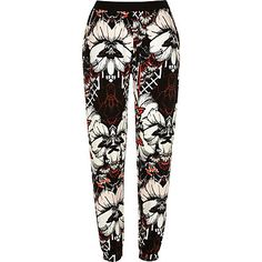 Black floral print jersey jogger trousers £25.00