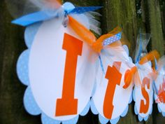 Baby Shower Banner - It's A Boy - Blue and Orange - Nesting