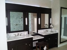 Bathroom : Design Ideas Bathroom Decorative Black Framed Mirror For Bathroom Mixed White Marble Vanity Top Cool Black Framed Mirror For Bathroom Looks Homely For Everyone Modern Bathroom Vanity Lights Combined Frosted Glass Bathroom Paint Colours' Bath Remodel' Modern Bathroom Ideas as well as Bathrooms