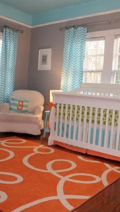 Teal and orange nursery...love!