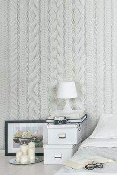 papier peint trompe l'oeil effet tricot pour embellir les murs et apporter une touche cosy à la pièce