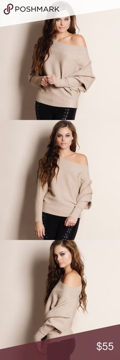 "Slouchy Off Shoulder Sweater Top Off Shoulder dolman sleeve slouchy sweater top. This is an ACTUAL PIC of the item - all photography done personally by me. Model is 5'9"" 32-24-36 32A wearing the size small. NO TRADES DO NOT BOTHER ASKING. PRICE FIRM. Bare Anthology Tops Blouses"