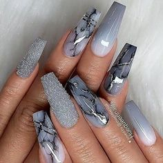 Amazing grey coffin shaped nails with marble, glitter, and ombre grey nails for inspiration! : Amazing grey coffin shaped nails with marble, glitter, and ombre grey nails for inspiration! Acrylic Nails Coffin Short, Coffin Shape Nails, Summer Acrylic Nails, Best Acrylic Nails, Marble Acrylic Nails, Spring Nails, Acrylic Nails With Glitter, Acrylic Nails Glitter, Summer Nails