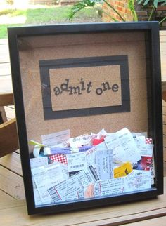 Perfect for the tons of concert tickets airline stubs and travel tickets i have! Fun Crafts, Diy And Crafts, Arts And Crafts, Craft Projects, Projects To Try, Shadow Box, Gifts For Friends, Diy Gifts, Scrapbooking