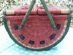 Vintage Watermelon Picnic Basket Wicker Basket by VendageTresors, $38.99