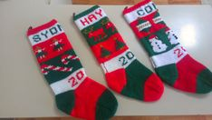hand knit decorative Christmas stockings by knitandmisc on Etsy, $50.00