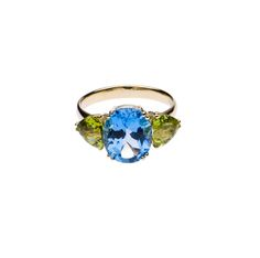 Contemporary Indian Jewellery   Blue Topaz and Peridot Cocktail Ring  14 Carat Gold  Swiss Blue Topaz  Peridot Trillion    £450