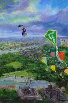 Harrison Ellenshaw - Lets Go Fly a Kite - From Disney Mary Poppins Hand-Embellished Giclee on Canvas Mary Poppins 1964, Olympia, Disney Fine Art, Skier, Go Fly A Kite, Galleries In London, Matte Painting, Disney Love, Everything