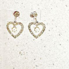 Earrings sterling hearts screwback dangles rhinestone faux pearl prong set #Unbranded #DropDangle