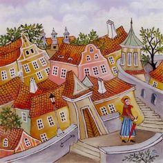 Praha / Prague | benackova.cz House Illustration, Illustrations, Serbian, Fantasy World, Prague, Whimsical, Paintings, Holiday Decor, Children