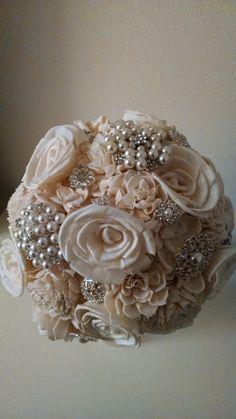 Custom Made Bride Bridesmaid Unique Shabby Chic by LoLosYellowRoom Fabric Bouquet, Hand Bouquet, Fabric Flowers, Chic Wedding, Fall Wedding, Rustic Wedding, Dream Wedding, Brooch Bouquets, Bridal Bouquets