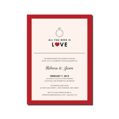Engagement Party Invitation - Ring and Heart - Valentine's Day - DIY Printable or Printed - All You Need is Love #0052-PIA7
