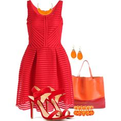 Sheinside Red Sleeveless Hollow Striped Flare Dress by arjanadesign on Polyvore featuring polyvore fashion style Schutz Mixit Kenneth Cole Kenneth Jay Lane Sheinside
