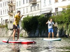 Stand up paddling on the river Ljubljanica in the middle of  #Ljubljana.
