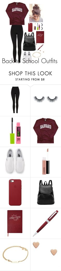 """Back to School Outfits #15"" by gussied-up ❤ liked on Polyvore featuring Topshop, Maybelline, Vans, MAC Cosmetics, Apple, Sloane Stationery, John Lewis and A.P.C."