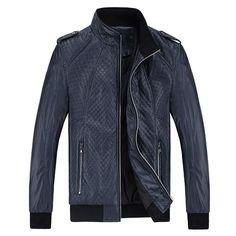 Sale 14% (47.94$) - Men Stand Collar PU Leather Casual Fashion Zipper Jacket