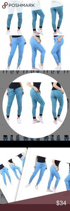 "Baby Blue and Turquoise Marled Skinny Joggers Wide waistband that ties.Material Cotton Rayon Spandex .  Approx 28"" in length. Choose your color after clicking buy button 🚨PLEASE ORDER ONE SIZE UP🚨 @roedarryl Pants Track Pants & Joggers"