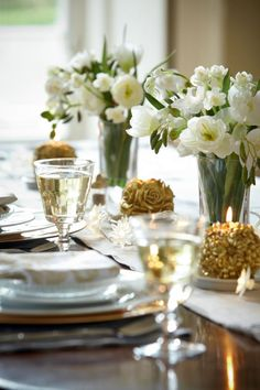 Beautiful blooms and interesting candles can be all you need to accent your tableware