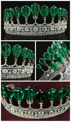 Emerald and Diamond Tiara. Formerly in the Collection of Princess Katharina Henckel Von Donnersmarck, Circa 1900. The tiara is composed of 11 Colombian pear-shaped emeralds and weighing over 500 carats.