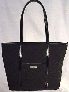 VERA BRADLEY Trimmed Vera Classic Black Tote Handbag New With Tags RRP 108USD