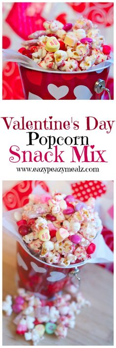 Valentine's Day Popcorn Snack Mix: A delicious white chocolate snack mix you won't want to stop eating. Think Red Velvet Muddy Buddies, popcorn, and all your favorite V-day treats! - Eazy Peazy Mealz