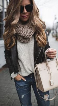 #Winter #Outfits / Leather Jacket + Knit Scarf