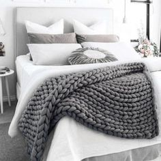 Home Grtsunsea Soft Warm Hand Chunky Knit Blanket Thick Yarn Bulky Bed Sofa Spread Throw Winter 7 Colors. Fall Bedroom, Ikea Bedroom, Bedroom Decor, Bedroom Ideas, Sofa Blanket, Grey Throw Blanket, Throw Blankets, Blanket Rack, Winter Blankets