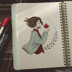colorful-drawing-of-girl-wearing-plaid-shirt-grey-cardigan-holding-maple-leaf-cute-simple-drawings - nimivo sites Cool Easy Drawings, Colorful Drawings, Cute Drawings, Film Up, What To Draw, Drawing For Beginners, Simple Doodles, Fun Hobbies, Draw