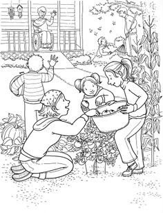 An illustration of a family of five all working in a garden together for an elderly woman, who sits in her wheelchair on her porch.