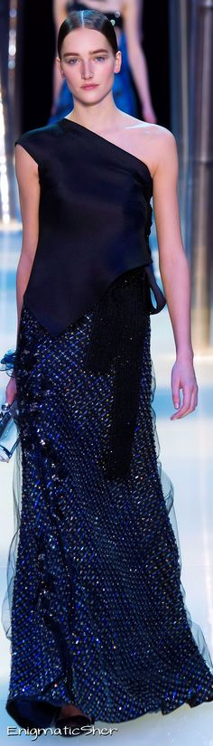 Giorgio Armani Privé ~ Haute Couture Summer One Shoulder Midnight Blue Sequinned Gown,2015