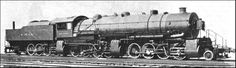 """THE FAMOUS TRIPLEX """"MALLET,"""" """"Matt H. Shay,"""" of the Erie Railroad, U.S.A. Once the largest locomotive in the world, this engine of the 2-8-0 + 0-8-0 + 0-8-2 type, can haul loaded freight trains over a mile long. The diameter of the six cylinders is 36 in. and exceeds the length of the piston stroke, which is 32 in. The rear pair of cylinders exhausts into an auxiliary chimney, seen at the back of the pseudo-tender"""