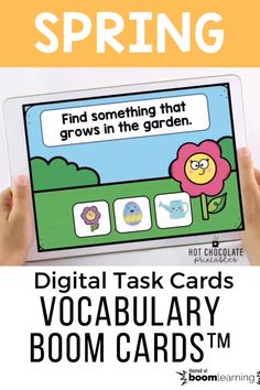 Find something that - Spring vocabualry building boom cards English Vocabulary Games, Vocabulary Practice, Grammar And Vocabulary, Vocabulary Activities, English Resources, English Lessons, Teacher Must Haves, Classroom Language, Task Cards