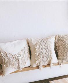 Boho Macrame Pillow Pillow Cover with Tassels / Fringe Beige Handwoven Bohemian Pillow, macrame, Boh