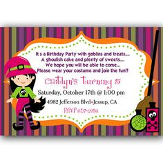 Cute Little Witch Halloween Birthday Party Invitation Digital File