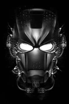 Iron Man - Black and white illustration from digital artist Obery Nicolas. Iron Men, Steampunk, Comic Book Characters, Comic Books Art, Captain America, Futuristic Helmet, Science Fiction, Comic Face, Spiderman