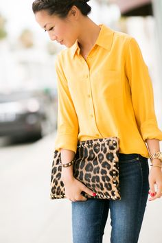 Weekend Leopard :: Zip ankle jeans & Spotted clutch :: Outfit :: Top :: Equipment Bottom :: Paige Bag :: Valentino Shoes :: Schutz Accessories :: Michael Kors watch, Gorjana midi ring & Meredith Hahn rings, Deborah Lippmann 'It's raining men' polish Published: July 20, 2013