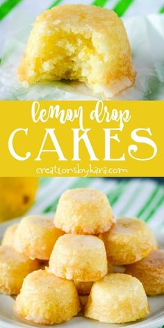 From Scratch Mini Lemon Drop Cakes - these bite sized lemon treats are covered with a delicious lemon glaze, and they practically melt in your mouth! # lemon cake From Scratch Mini Lemon Drop Cakes Lemon Dessert Recipes, Lemon Recipes, Sweet Recipes, Baking Recipes, Cake Recipes, Healthy Recipes, Lemon Curd Dessert, Mini Desserts, Bite Sized Desserts