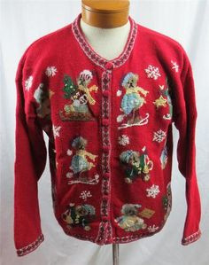 Ugly Christmas Sweater Cardigan 20W Blue Christmas Tree Snowmen ...