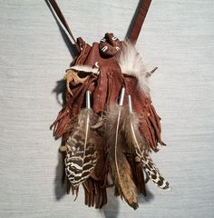 Amulet Pouch American Indian Style, Shaman's Bag, Leather and Feather and Fetish Medicine Pouch