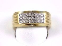 Fine Wide Round Cut Cluster Diamond Men's Ring Band 14k Yellow Gold .50Ct in Jewelry & Watches, Men's Jewelry, Rings | eBay
