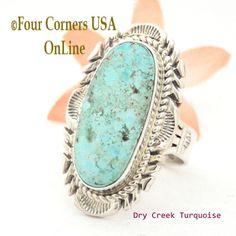 Four Corners USA Online - Size 9 Dry Creek Turquoise Large Stone Ring Navajo Artisan Thomas Francisco NAR-1686, $260.00 (http://stores.fourcornersusaonline.com/size-9-dry-creek-turquoise-large-stone-ring-navajo-artisan-thomas-francisco-nar-1686/)