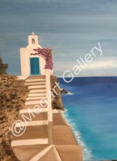 ΚΑΛΛΙΤΕΧΝΗΣ:ΔΗΜΗΤΣΑ ΟΛΓΑ ΔΙΑΣΤΑΣΕΙΣ:90X60CM ΕΛΑΙΟΓΡΑΦΙΑ TIMH:800,00 € Blue Artwork, Shades Of Blue, Birthday Candles, Island, Islands
