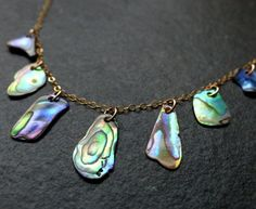 Abalone necklace, freeform paua shell, iridescent green, blue, natural, 14K gold filled, sterling silver, wedding, bridesmaid, gift