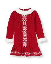 Janie and Jack Snowflake Fair Isle Sweater Dress