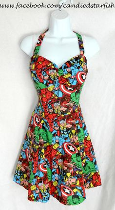 Me and my son will be taking family pictures w/ this! Custom size. Marvel Avengers dress by CandiedStarfish on Etsy