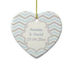 Modern blue, grey, ivory chevron pattern custom heart shaped ornament by ornament_centre