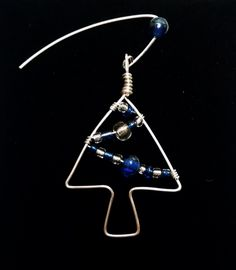 Handmade Holiday Tree Dangle Earrings In Blue And Silver by JujusNature on Etsy